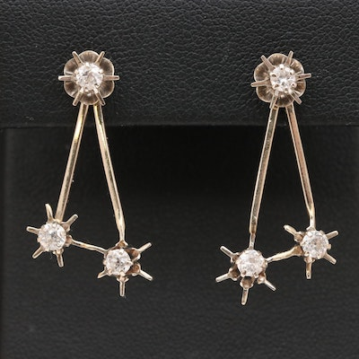 Vintage 14K Diamond Stud and Earring Enhancers with Belcher Settings