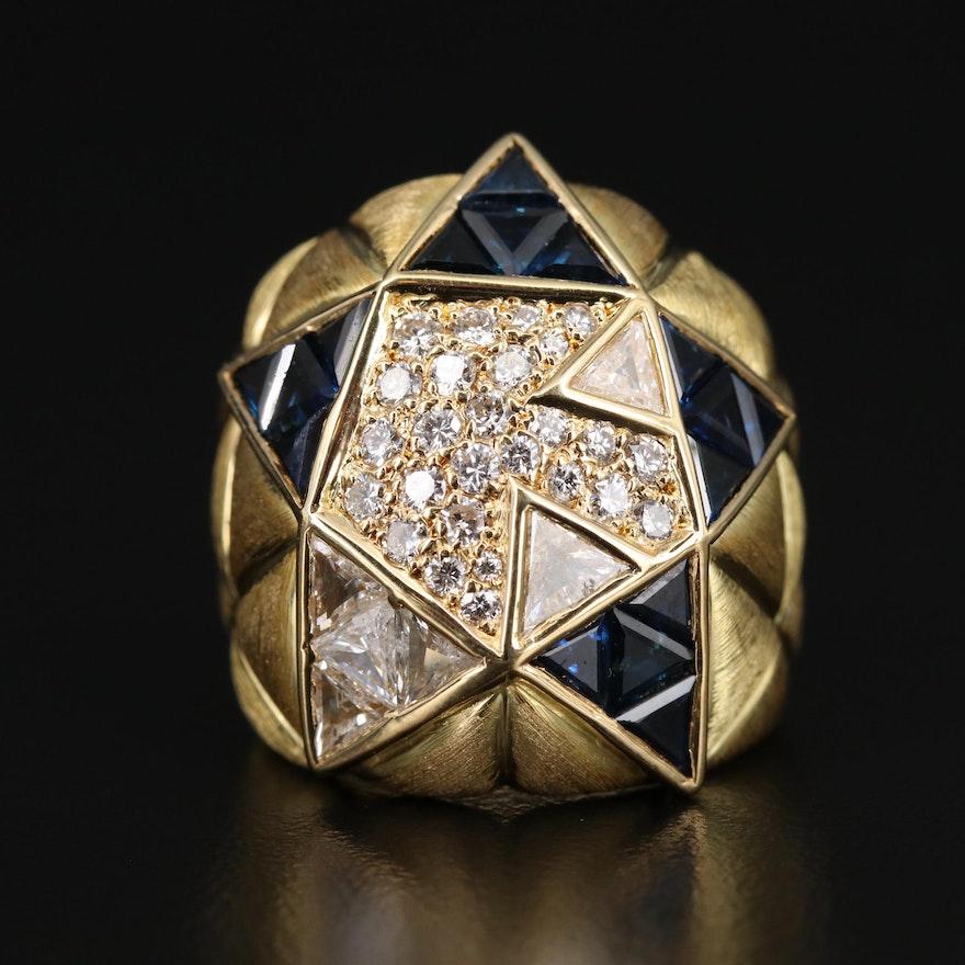 18K 1.21 CTW Diamond and Sapphire Domed Geometric Star Ring