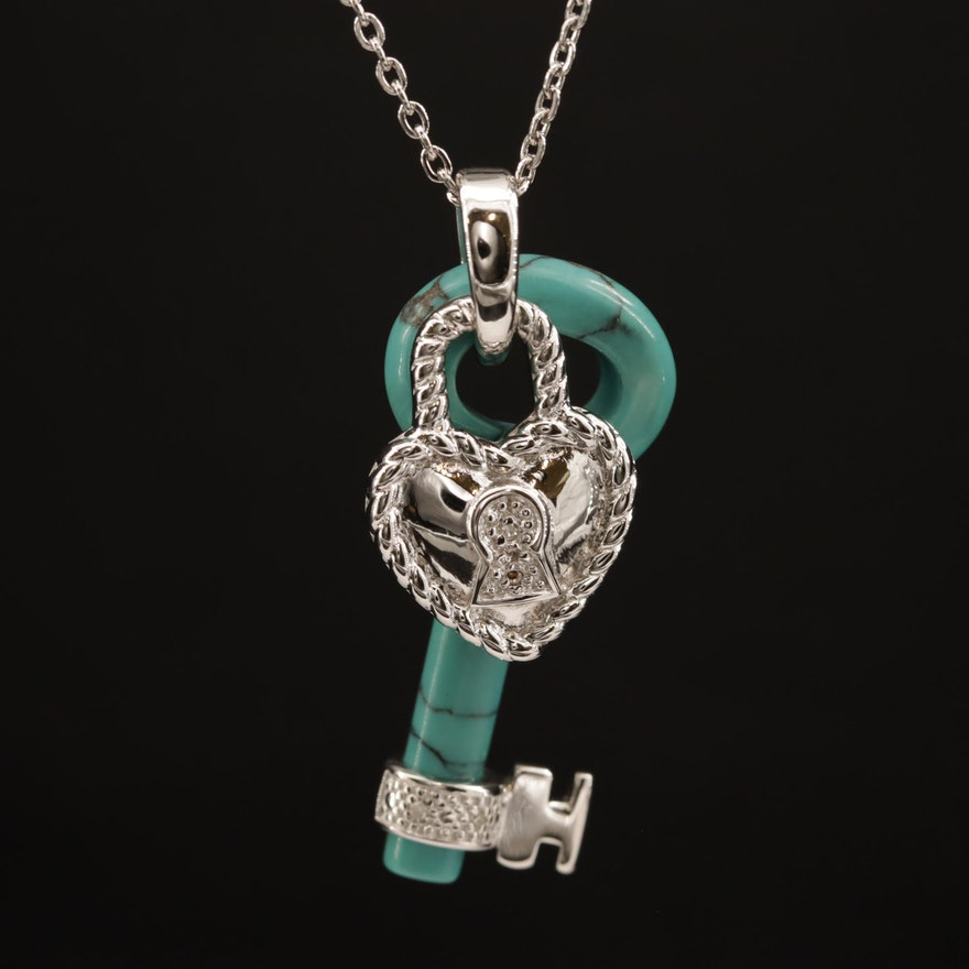Sterling Silver Heart Lock with Turquoise and Diamond Key Necklace
