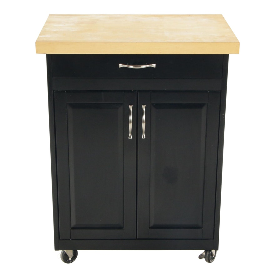 Contemporary Ebonized Kitchen Cart with Butcher Block Top