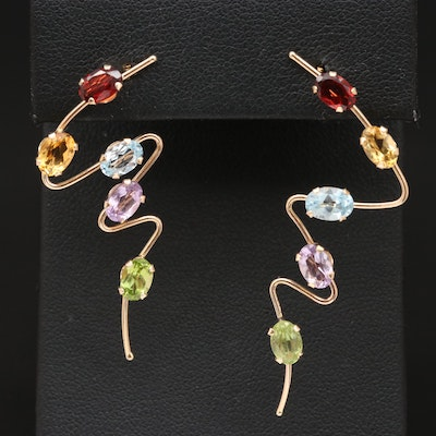 14K Freeform Earrings with Garnet, Citrine, Topaz and Amethyst