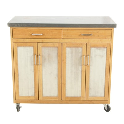 Contemporary Bamboo and Parcel-Painted Kitchen Cart with Stainless Steel Top