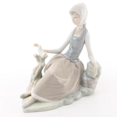 "Lladró ""Shepherdess with Dove"" Porcelain Figurine Designed by Vicente Martínez"