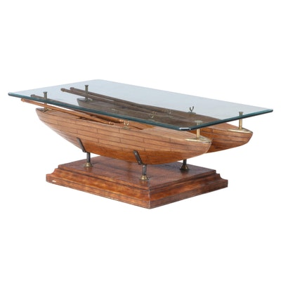 Double Dory Simulated Wood and Glass Top Coffee Table, Possibly Maitland-Smith
