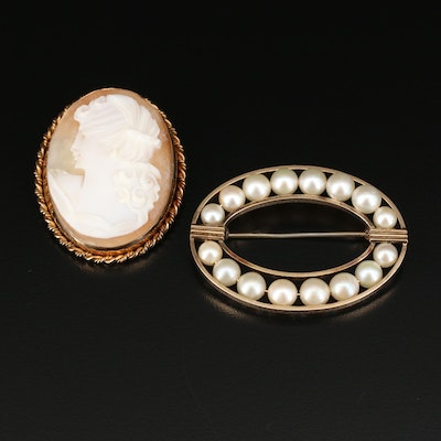 Van Dell Gold Filled Pearl and Winard Cameo Pins