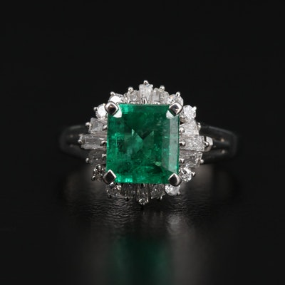 Platinum 1.62 CT Emerald and Diamond Ring