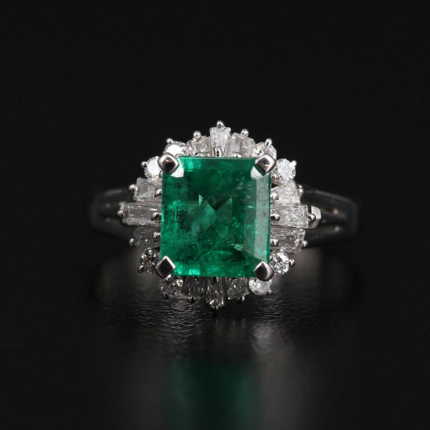 Platinum 1.62 CT Emerald and Diamond Ring