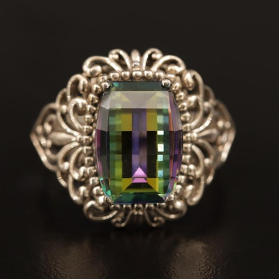 Sterling Mystic Quartz Scrollwork Ring
