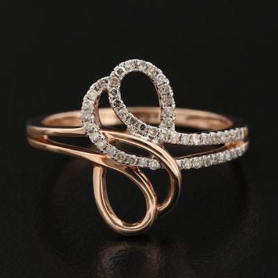 14K Diamond Double Loop Ring