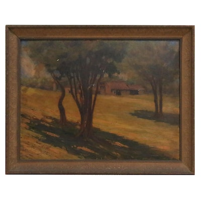 Nicola Ciletti Oil Painting of Farmhouse, Mid 20th Century