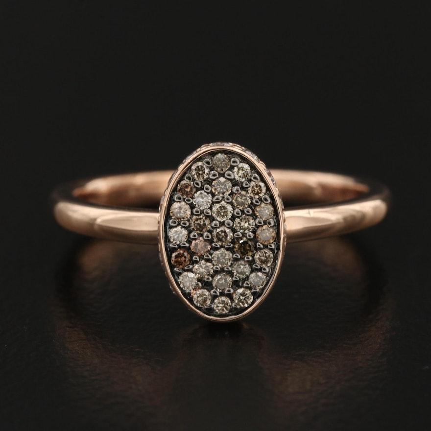 14K Rose Gold Diamond Oval Cluster Ring