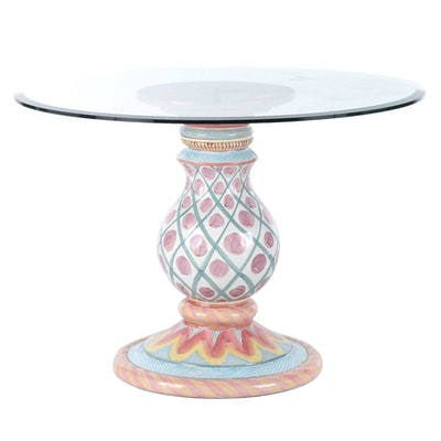 MacKenzie-Childs Painted Ceramic Glass Top Pedestal Center Center Table