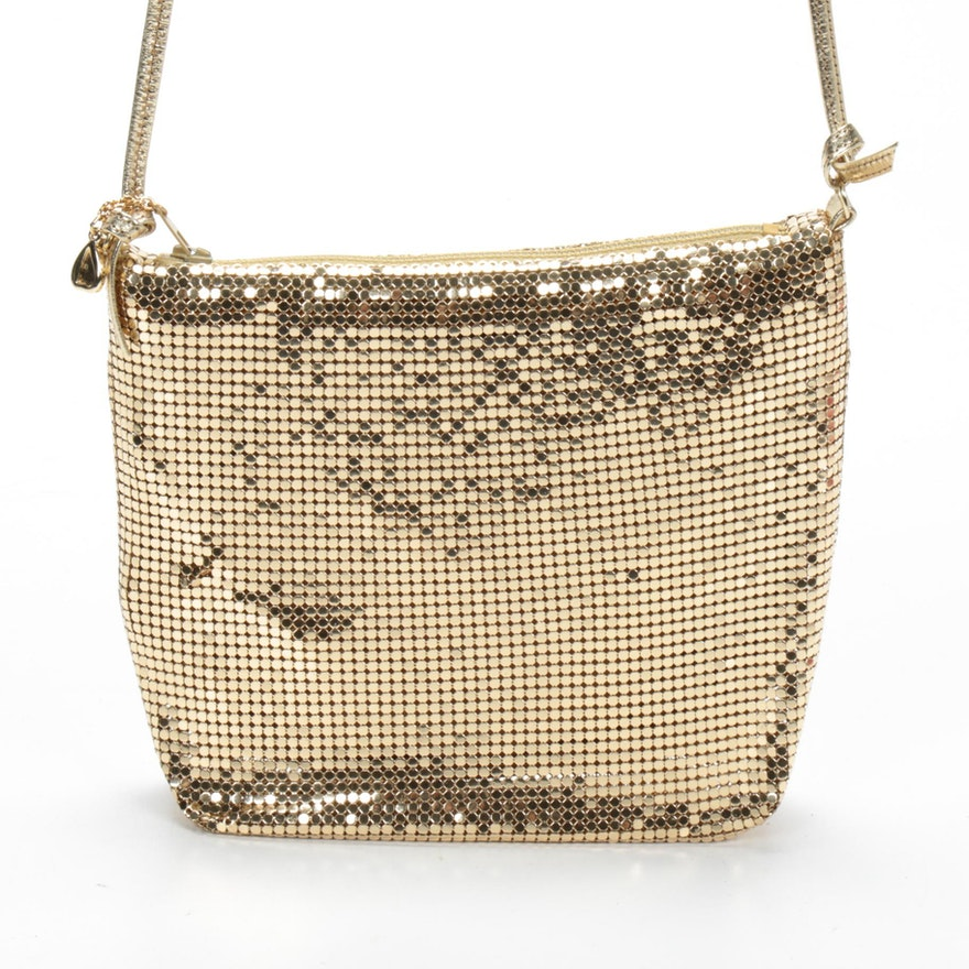 Whiting & Davis Mesh and Gold Metallic Leather Crossbody Bag, Vintage