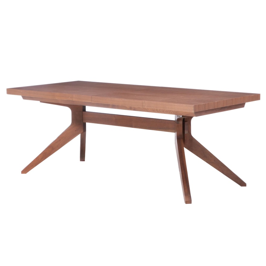 """Matthew Hilton for Case Modernist Style Walnut """"Cross Extension"""" Dining Table"""