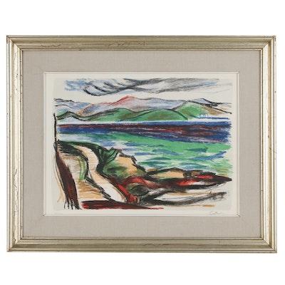 Landscape Serigraph of Lake, Late 20th Century