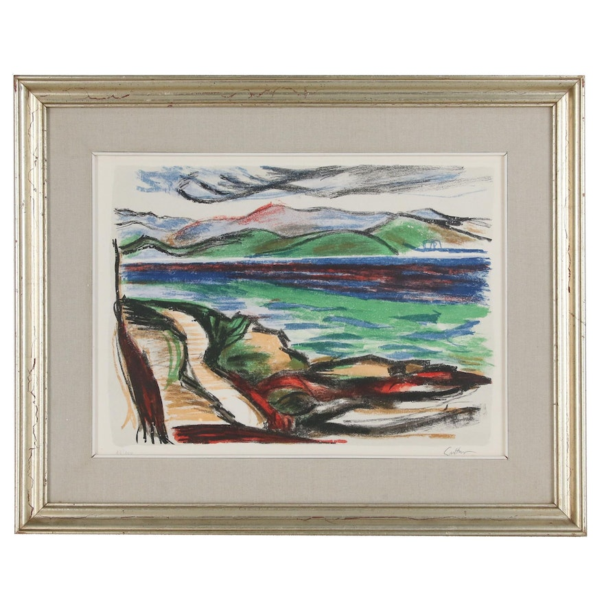 Landscape Serigraph of Lake, Late 20th Century