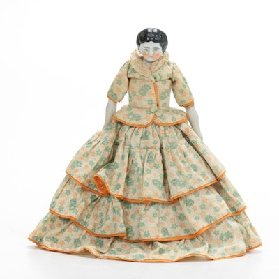 Hand-Painted Porcelain Doll, 1910s-1920s