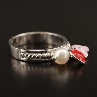 Sterling Pearl and Enamel Charm Ring