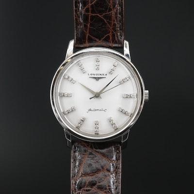 1956 Longines Ref. 2298-19AS Diamond Dial 14K Gold Automatic Wristwatch