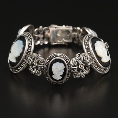 Sterling Silver Mother of Pearl, Black Onyx and Marcasite Cameo Bracelet