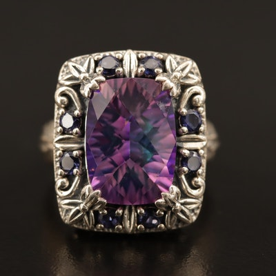 Sterling Mystic Quartz and Iolite Foliage and Scrollwork Ring