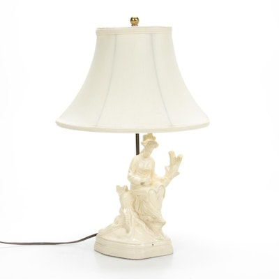 Chinese-Style Lady on Tree Figural Table Lamp, Early to Mid 20th Century
