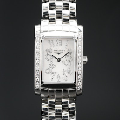 "Longines ""Dolce Vita"" Diamond and Stainless Steel Wristwatch"