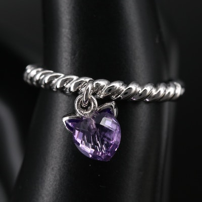 Sterling Band with Amethyst Heart and Purple Enamel Butterfly Dangles