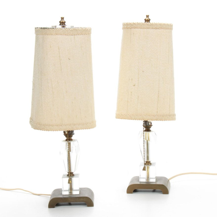 Pair of Excelsior Glass and Brass Boudoir Lamps, Mid 20th Century