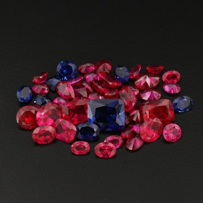 Loose Laboratory Grown Gemstones Including Rubies and Sapphires