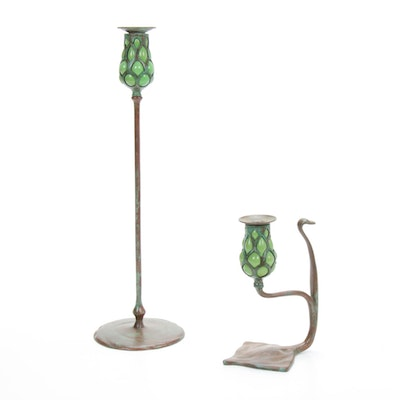 Bronze and Blown Glass Candlesticks, after a Design by Tiffany Studios