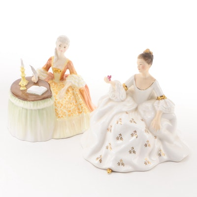 "Royal Doulton ""My Love"" and ""Meditation"" Bone China Figurines"