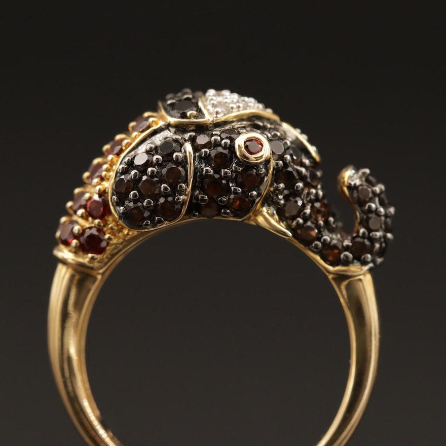 Sterling Silver Garnet, Diamond and Smoky Quartz Elephant Ring