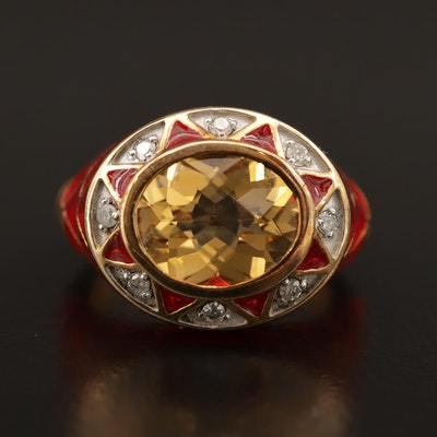 Sterling Citrine and Diamond Plique-à-jour Ring