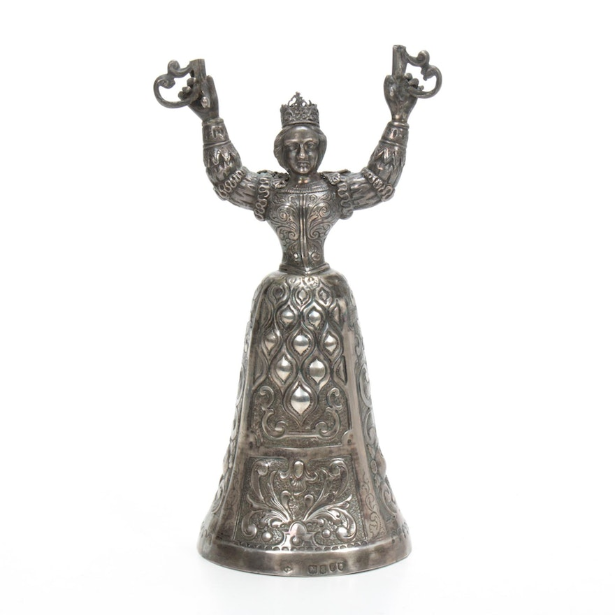 English Sterling Silver Figural Wedding Cup Base, 1896