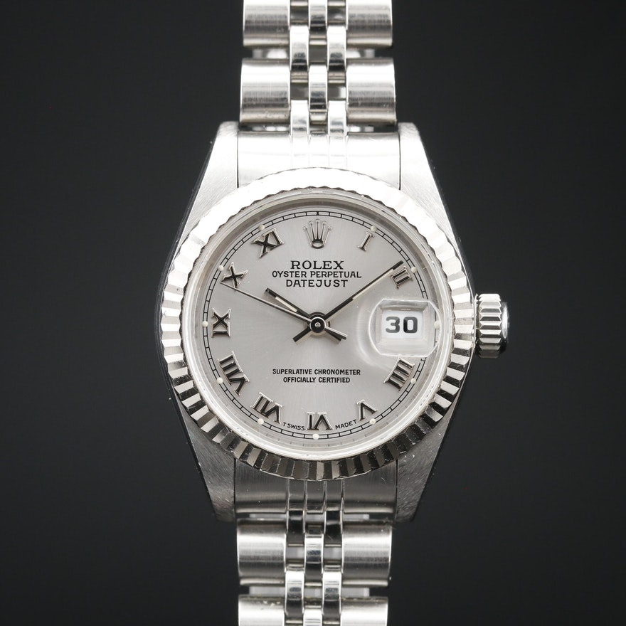 1996 Rolex Datejust Stainless Steel and 18K Gold Automatic Wristwatch