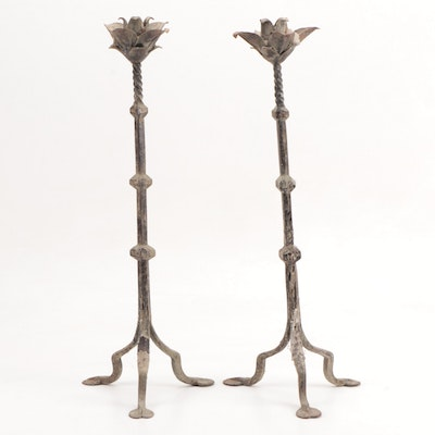 Pair of Wrought Iron Tripod Candle Stands with Floral Bobeches