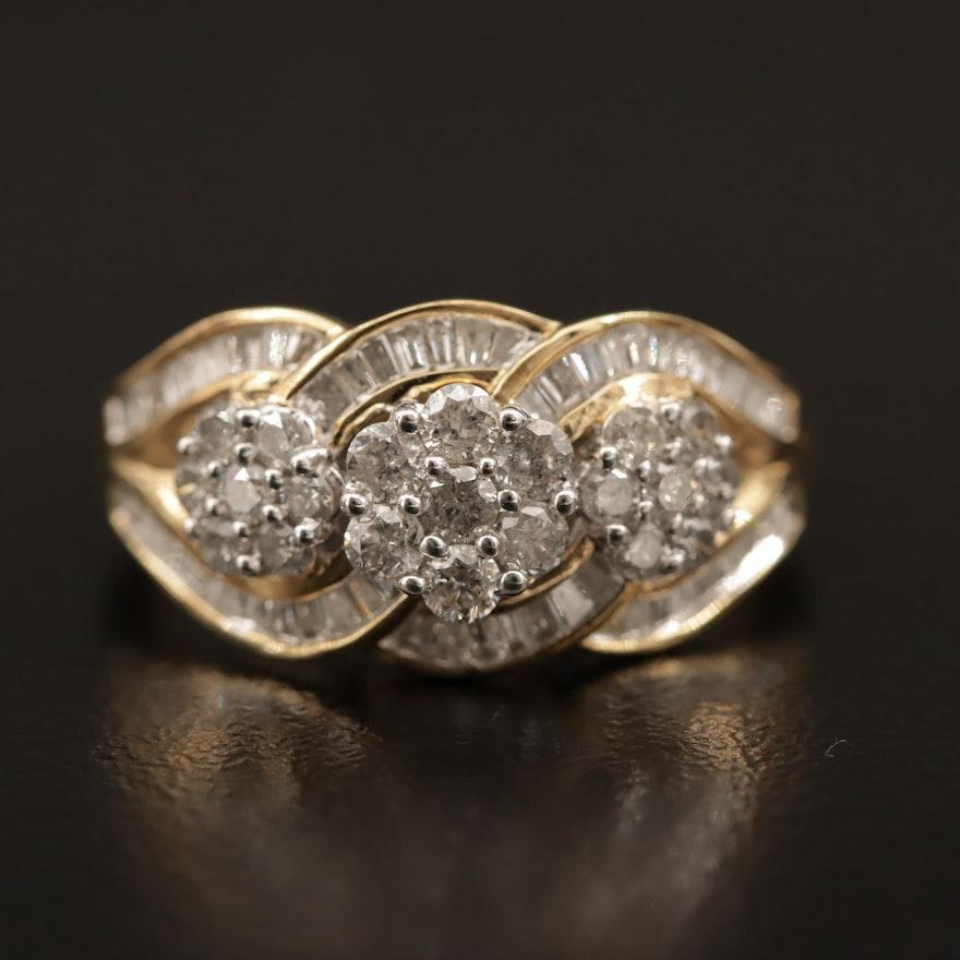 Sterling Silver 1.05 CTW Diamond Ring