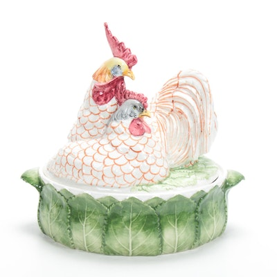 Italian Hand-Painted Majolica Chicken Form Lidded Tureen