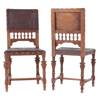 Renaissance Revival Pressed Leather Oak Chairs, Late 19th/Early 20th Century