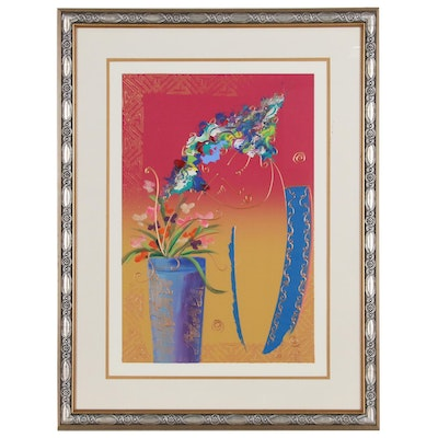 Lee White Acrylic Painting of Flowers, Late 20th Century