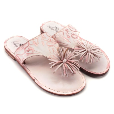 Patricia Nash Franca Pink Leather Pom-Pom Casual Slide Sandals