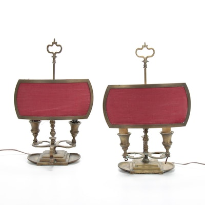 Pair of Brass Converted Half-Shade Bouillotte Lamps, Early to Mid 19th Century