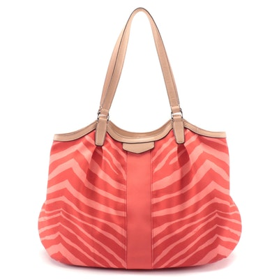 Coach Devin Tote Bag in Hot Orange Signature Stripe