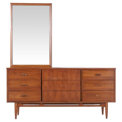 Mid Century Modern Walnut Chest of Drawers with Mirror