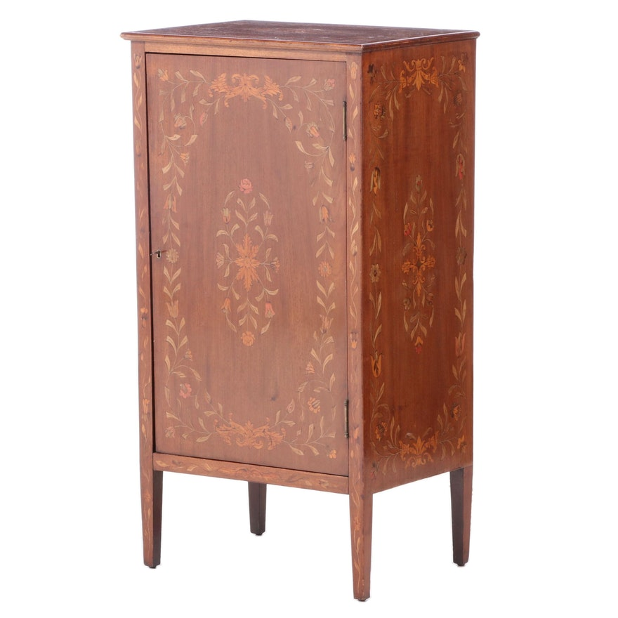 Edwardian Mahogany and Marquetry Music Cabinet, Early 20th Century