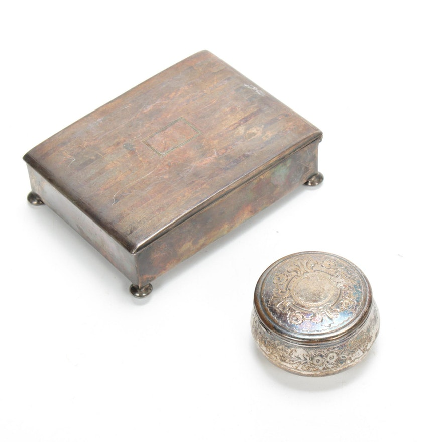 Sterling Silver Victorian Jar and Art Deco Tobacco Box, Late 19th/Early 20th C.