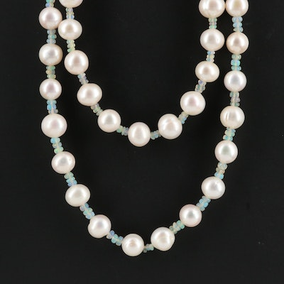 Pearl and Opal Double Strand Necklace with Sterling Clasp