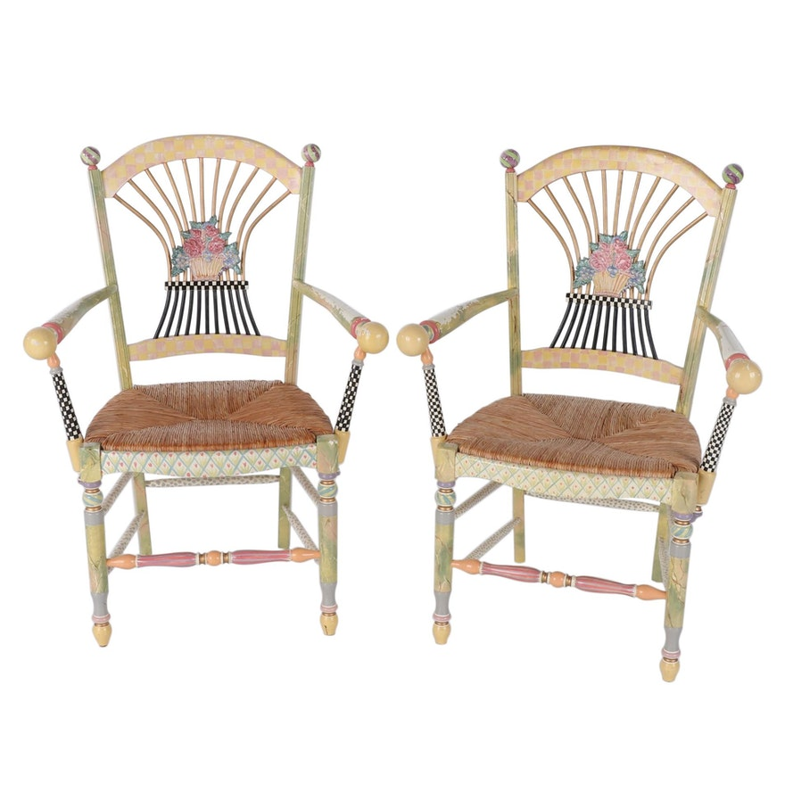 MacKenzie-Childs Paint-Decorated Rush Seat Arm Chairs, Late 20th Century