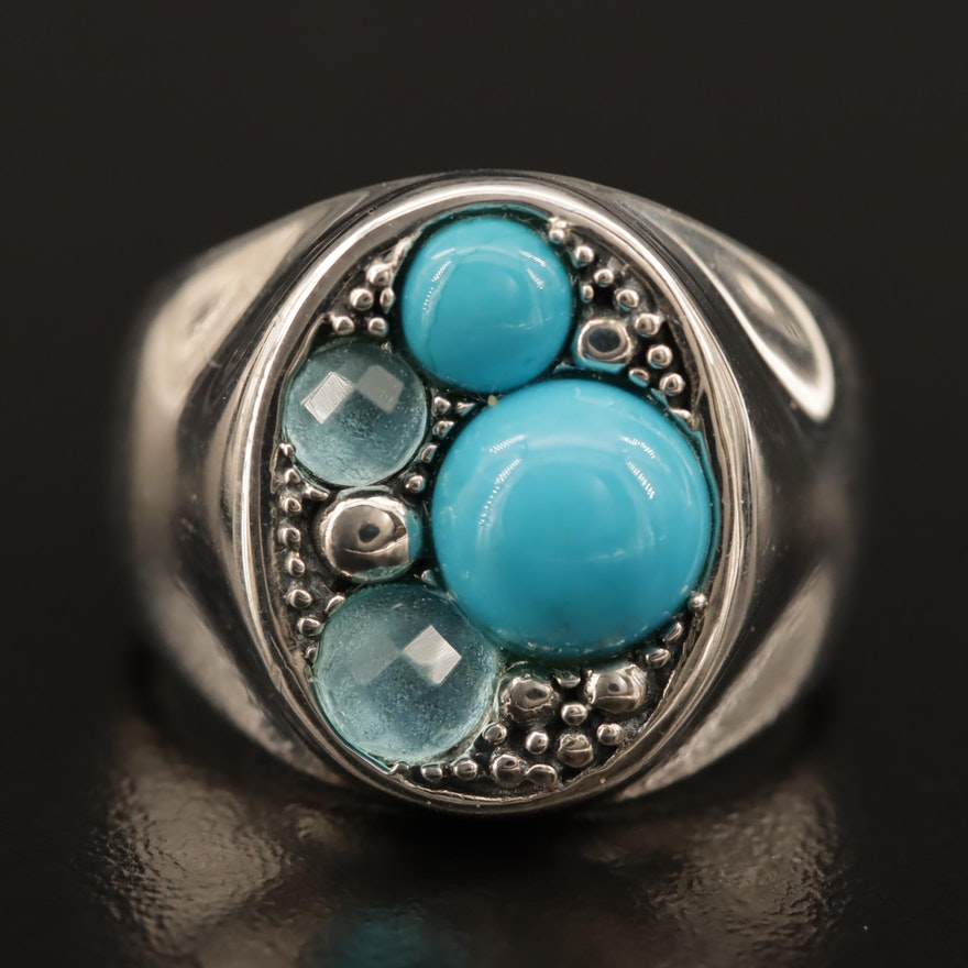 """Michael Dawkins """"Starry Night"""" Sterling Silver, Topaz and Turquoise Ring"""